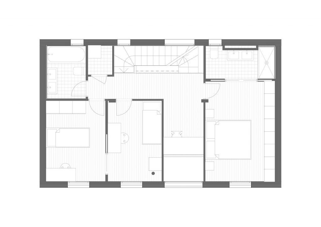 BUD Arquitectura - Casas sanas. Casa Roots. Casa sostenible, ecoeficiente de madera, plano